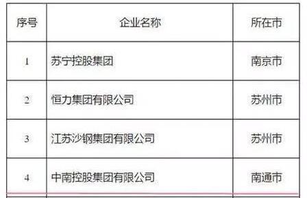 江苏民营企业100强完整名单